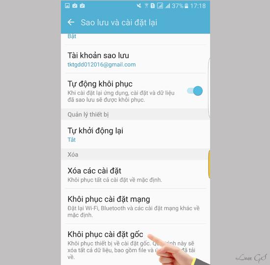 khoi phuc cai dat goc dien thoai 2 1 - Hướng dẫn khôi phục cài đặt gốc cho điện thoại SamSung Galaxy S7